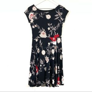 LOFT Black Floral Knit Stretch Cotton Casual Dress
